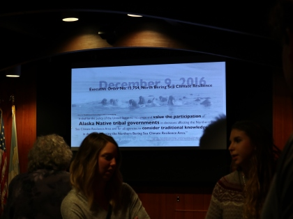 March 29, 2017, at the opening reception, images projected in the auditorium at the reception.