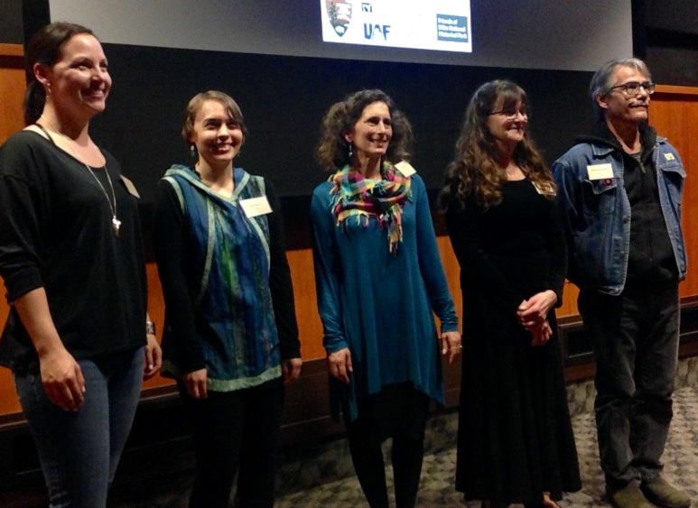 Mary Goddard of Sitka (left), Erin Gingrich of Anchorage, Lisa Link of Boston, MA, Karen Austen of Fairbanks, and Robert Davis Hoffmann of Sitka (right).
