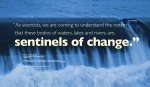 """""""As scientists, we are coming to understand the notion that these bodies of waters, lakes and rivers, are, sentinels of change."""" — Denise A. Bruesewitz Assistant Professor of Environmental Studies Colby College See: Williamson,Craig E., et al. """"Sentinels of Change."""" Science, American Association for the Advancement of Science, 13 Feb. 2009. science.sciencemag.org/content/323/5916/887. WordWrap 2018: Swimming Upstream, by Lisa Link for Waterville Creates"""